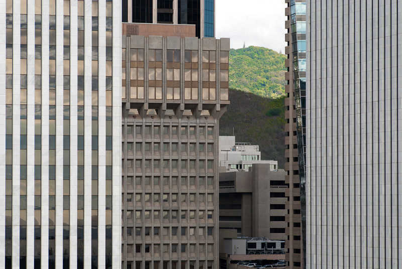 """<span id=""""title"""">View from Aloha Tower</span> <em>Honolulu, Oahu</em> As rural as much of Hawaii is, there are plenty of skyscrapers in downtown Honolulu. Seen from Aloha Tower, I liked how just a little bit of green was visible through the buildings."""