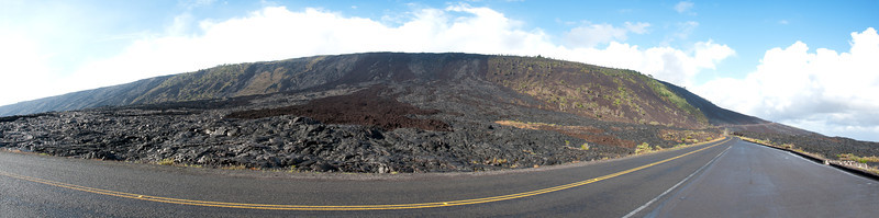"<span id=""title"">Chain of Craters Road</span> <em>Hawaii Volcanoes National Park</em> Here's a panorama of the road at a pulloff that provided great views of where the lava has come down over a very steep section. It's awesome that you can drive through this."