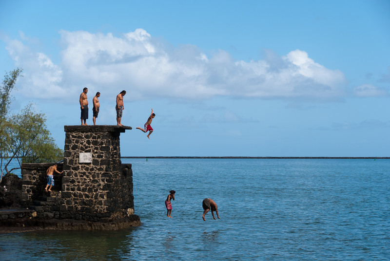 """<span id=""""title"""">Jumpers</span> <em>Coconut Island, Hilo, Hawaii</em> I was going to title this shot 'Divers' but that's not really accurate. The guy on the right is clearly in for some belly pain, although I saw other jumpers do the same thing. Personally, I avoid belly flops at all costs, but whatever. I guess it's a Hawaiian thing."""