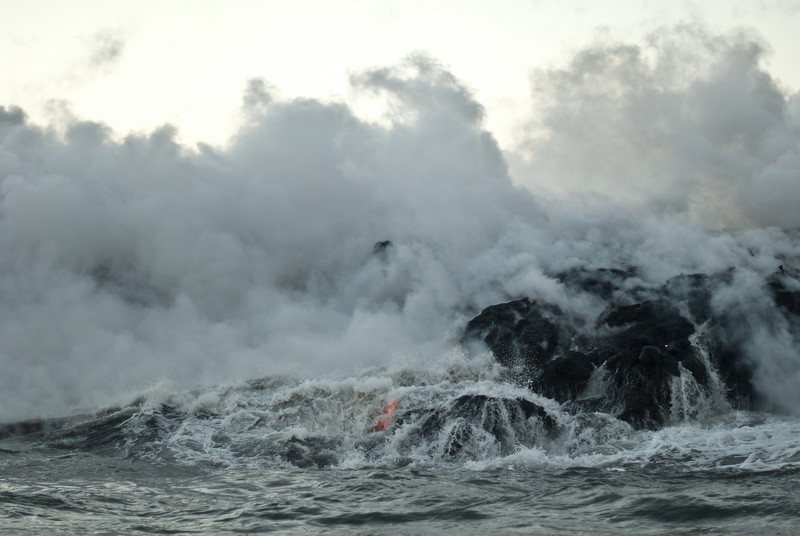 """<span id=""""title"""">Splash</span> <em>Lava Entry Point, Hawaii</em> I could have watched this for hours. Seeing the waves splash against the glowing lava was pretty amazing. Even parts of the nearby ocean were steaming."""