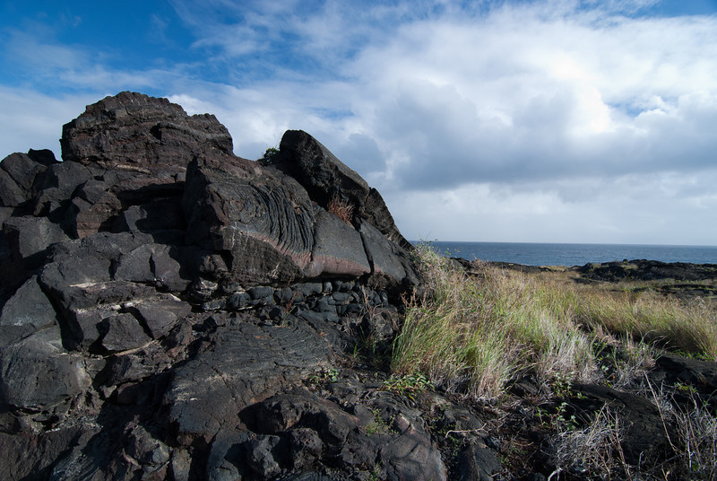 """<span id=""""title"""">Lava</span> <em>Hawaii Volcanoes National Park</em> A neat lava formation (giant bubble?) near the end of Chain of Craters road. The road used to continue, but of course it's been covered up by lava."""