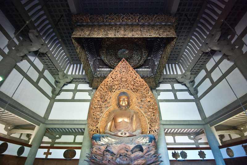"""<span id=""""title"""">Buddha</span> <em>Byodo-In Temple, Kaneohe, Oahu</em> Here's the interior of the Byodo-In Temple that we visited. The statue, carved by Masuzo Inui, is 18 feet tall and gold-plated."""