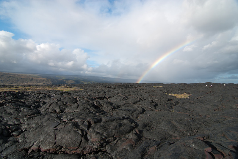 """<span id=""""title"""">Lava Rainbow</span> <em>Hawaii Volcanoes National Park</em> Another superb rainbow at the end of Chain of Craters road. One of my favorite parts of the trip was climbing around on this fresh lava flow."""