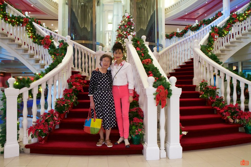 Rosa and her mother on the grand staircase of the Norwegian Cruise Lines cruise ship 'Pride of America'. The ship was huge - 80,500 tons.
