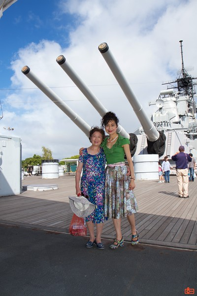 "Rosa and her mother on the aft deck of the battleship U.S.S. Missouri. Behind them are three 16"" main guns in the aft turret."