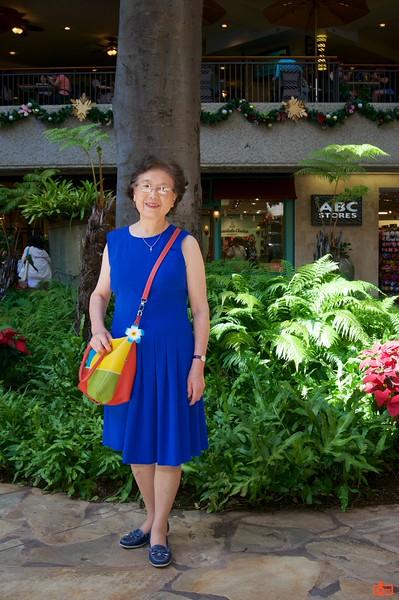 Rosa's mother at the Royal Hawaiian Center shopping mall.