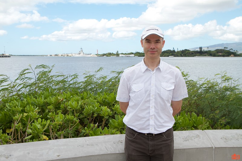 Richard with Pearl Harbor in the background.