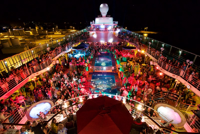 Midnight, New Years, on the party pool deck of our ship, Pride of America. Ring out 2015, Ring in 2016.