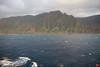 The Na Pali coast of Kauai illuminated by the setting sun.