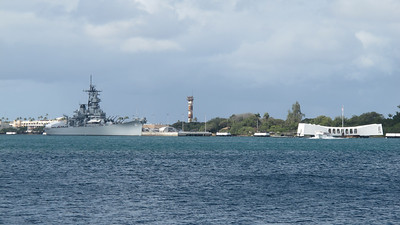 Left: USS Missouri, where the Japanese surrendered. Right: USS Arizona memorial