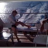 Jacki on the catamaran