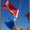 Dive flag on the catamaran