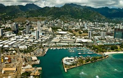 aerial photo, Boat Harbor, Waikiki, Honolulu coastline