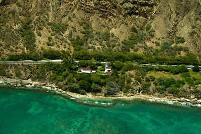 aerial photo, Diamond Head LIghthouse, Southern Oahu Coastline
