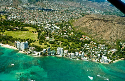 aerial photo, Kapiolani Park, Waikiki, Honolulu coastline