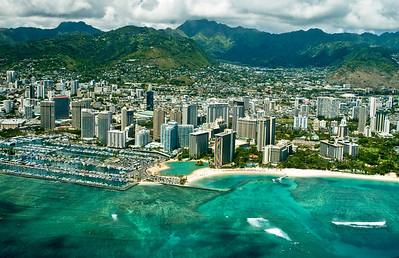aerial photo, Waikiki, Honolulu coastline