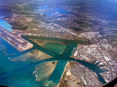 Honolulu airport and Pearl Harbor, from a 767 Hawaiian Airlines jetaerial photo, Honolulu
