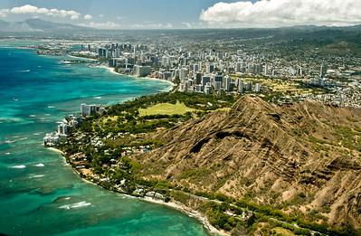 aerial photo, Diamond Head, Southern Oahu Coastline