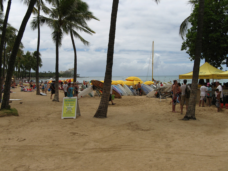 The famous Waikiki beach.  Plenty of opportunities for surf lessons.