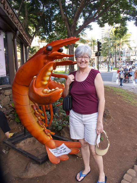 A tourist greets Louise.