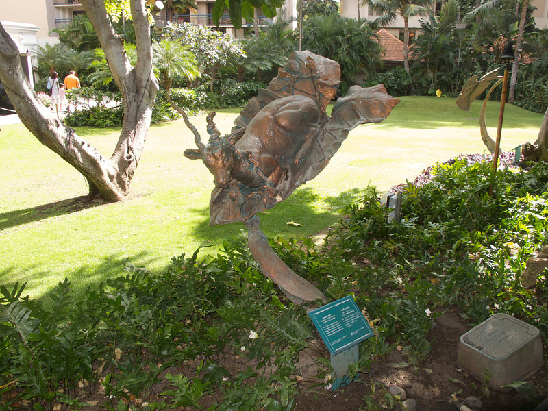 A fabulous goat at one of the many hotels on Waikiki Beach.