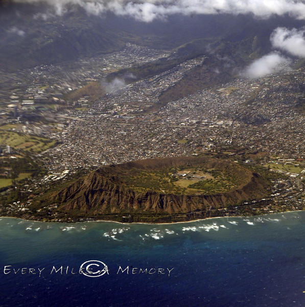 Aerial View of Diamond Head Crater - Oahu