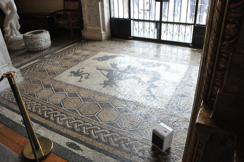 This roman floor mosaic is so old you are not allowed to walk on it.  It is in the main entry way.