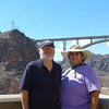 JC and me on the top of the Hoover Dam, with the Memorial  ByPass Bridge in the background