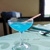 The  La Terraza's house specialty, Don Gregorio cocktail, a blend of blue curaçao and maraschino liqueur, Cojimar, Cuba, June 11, 2016.