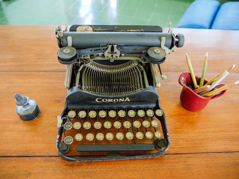 The typewriter Hemingway likely used to write seven book including The Old Man and the Sea, A Moveable Feast and Islands in the Stream.   Museo Hemingway, Finca Vigia, Havana, Cuba, June 11, 2016.