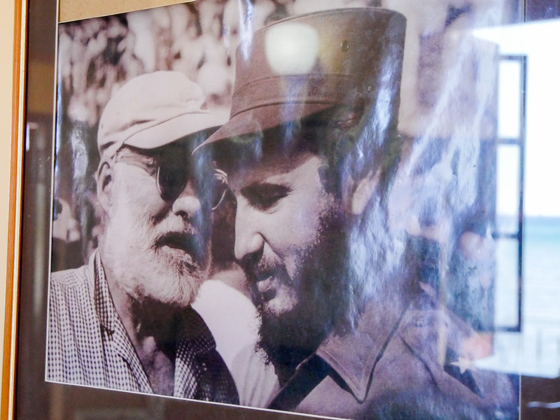 Castro won the Hemingway sponsored marlin tournament in 1960.  They only time they met.  Photo at La Terraza,  Cojimar, Cuba, June 11, 2016.