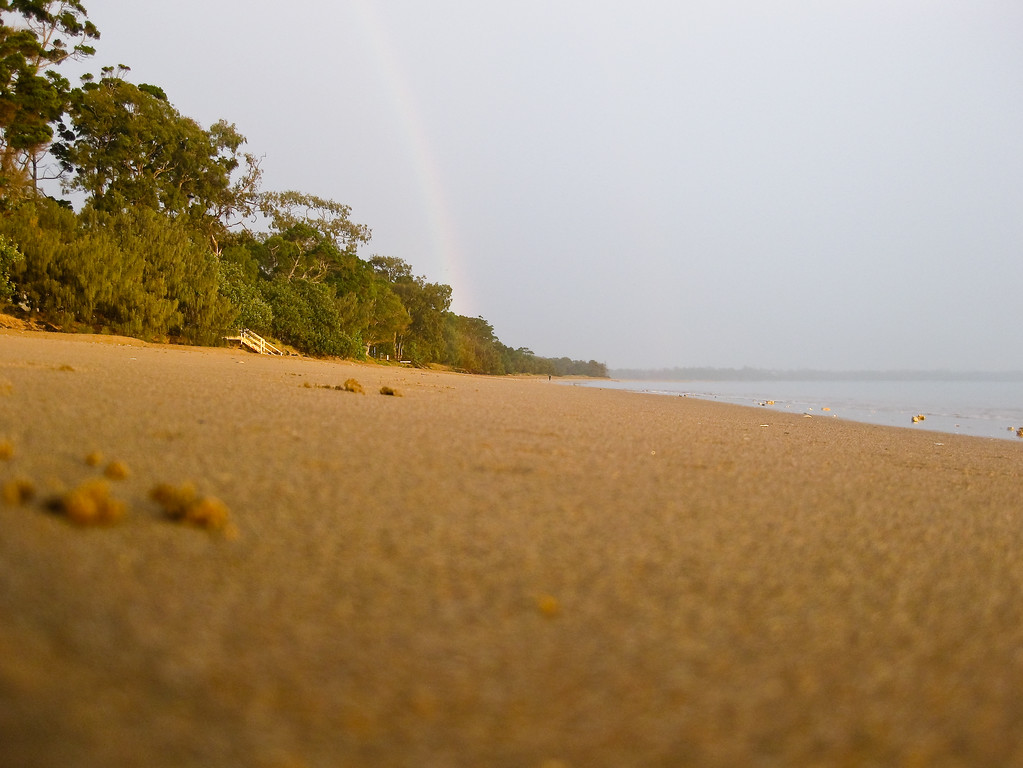 Point & Shoot / Pocket Camera photos - Early morning rainbow seen from Pialba Beach; Hervey Bay, Queensland; June 2010.