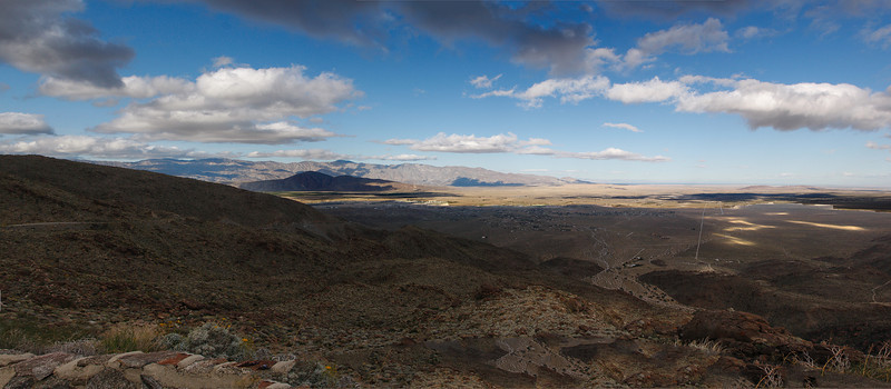 Anza Borrego and Borrego Springs from the westside.  If you follow the dirt road on the right side, it will take your eyes to the Salton Sea.