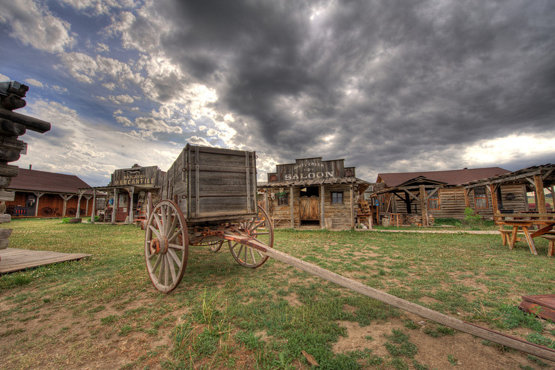 Wagon in front of the Mercantile and Saloon