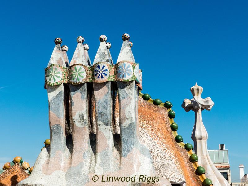 Unique chimneys on the Casa Batllo.