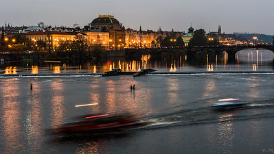 Prague from Charles Bridge at Dusk