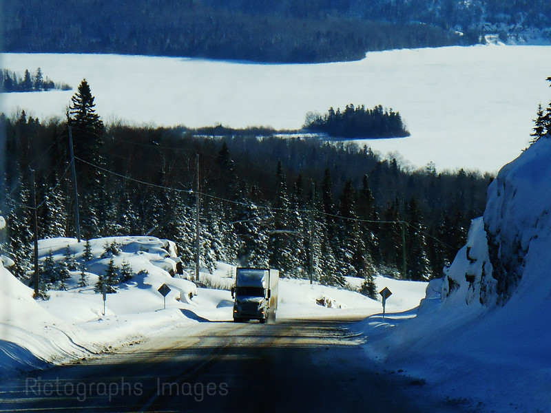 Winter Travel Trucking on the Trans Canada Highway Seventeen