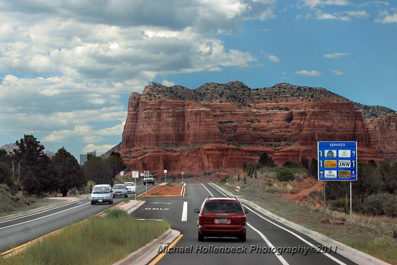 Entering the red rock area of Sedona, Arizona.