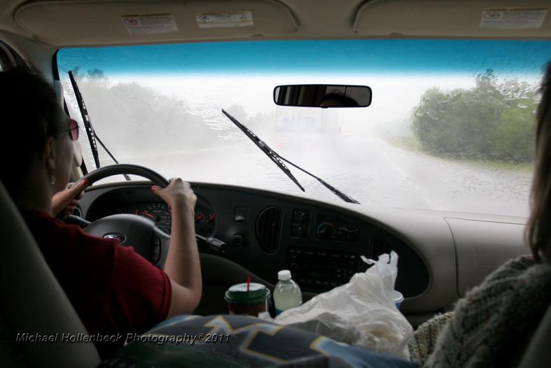 Pouring rain along south bound I-44 Missouri.