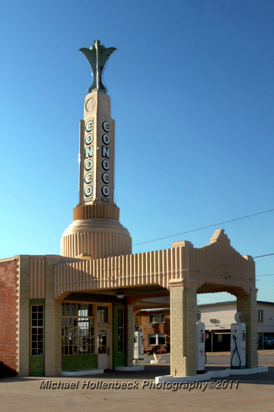 The Conoco Service Station along Route 66 in Shamrock, Texas. It was used as the inspiration for Ramone's House of Body Art in the movie Cars.