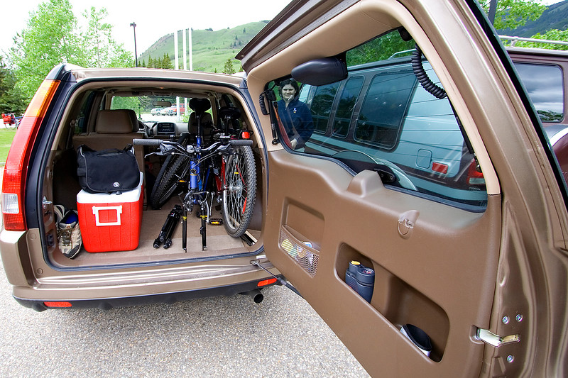 This is our C-RV - I was happy we were able to get both our bikes in with the front tires removed and had space for other stuff.  We had actually never taken our bikes anywhere before.