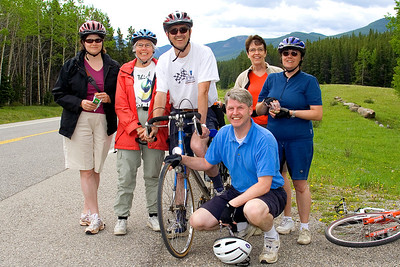 From left to right: Darcie, Betty, Terry, Diane, Monica and James is crouching. We had lunch a little earlier and this is were we decided to head back.  Cly had had one flat tire and we were out of food and water.  This is just past the 10 kilometer mark.