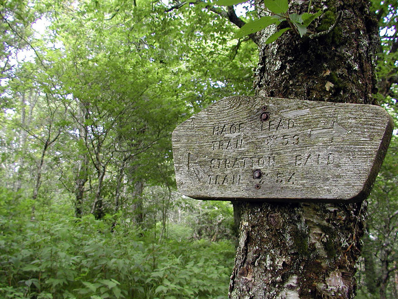 Trail sign for the junction between Stratton Bald Trail and Haoe (Hey-o)