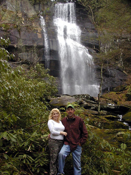Dana and Kenny in front of Fall Branch Falls<br /> Cherokee National Forest, TN 2008