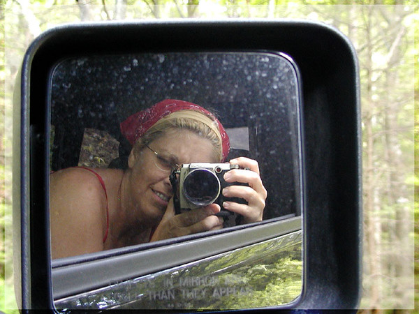 There are never any photos of me on my hikes. <br /> I was hanging out a window taking flower pix when I snapped this one.
