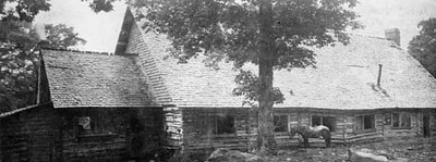 Hunting lodge on Hooper Bald. historic archive photo by Albert Dutch Roth.