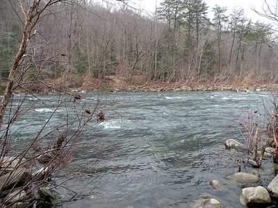 Big Spring Ford over the Caney Fork River. The trail continues on the other side. Can you see it?