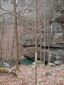 Big Spring is a resurgence stream where the waters flowing at the top of Scotts Gulf and in Virgin Falls Pocket Wilderness returns to the surface from subterranean chambers. See Kenny at the bottom of the cliff for scale.