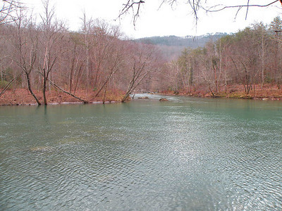 Forks of the River.......... The Caney Fork.  We could have forded the Caney Fork to reach Rogers Creek Falls and Puncheon Camp Creek Twin Falls, but not without risking life and limb today.  A very deep, dangerous, ford to be sure and a lesson in hypothermia on a day where it never got above 30*
