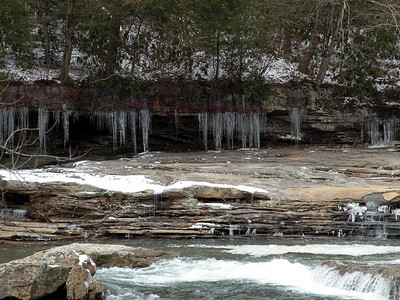 Icicles hanging under the river banks.